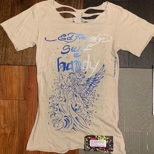 Ed Hardy Shirt Surf Crazy Size S Shredded T